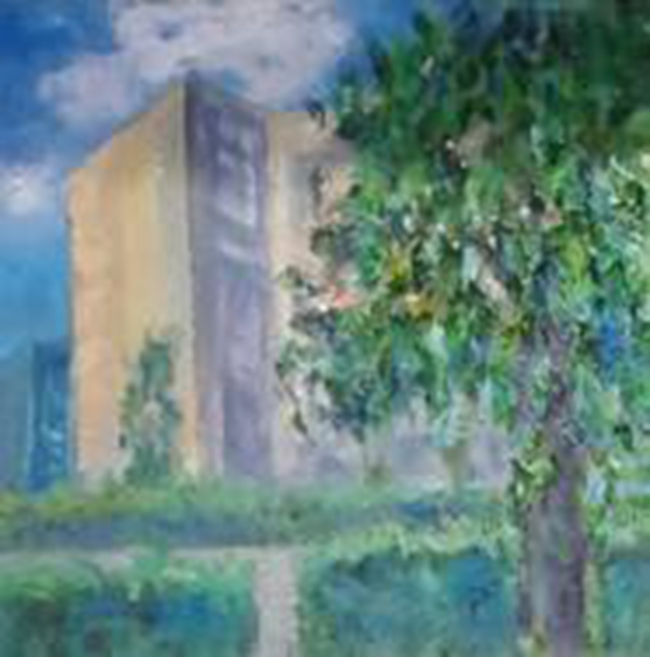 油画风景临摹校园